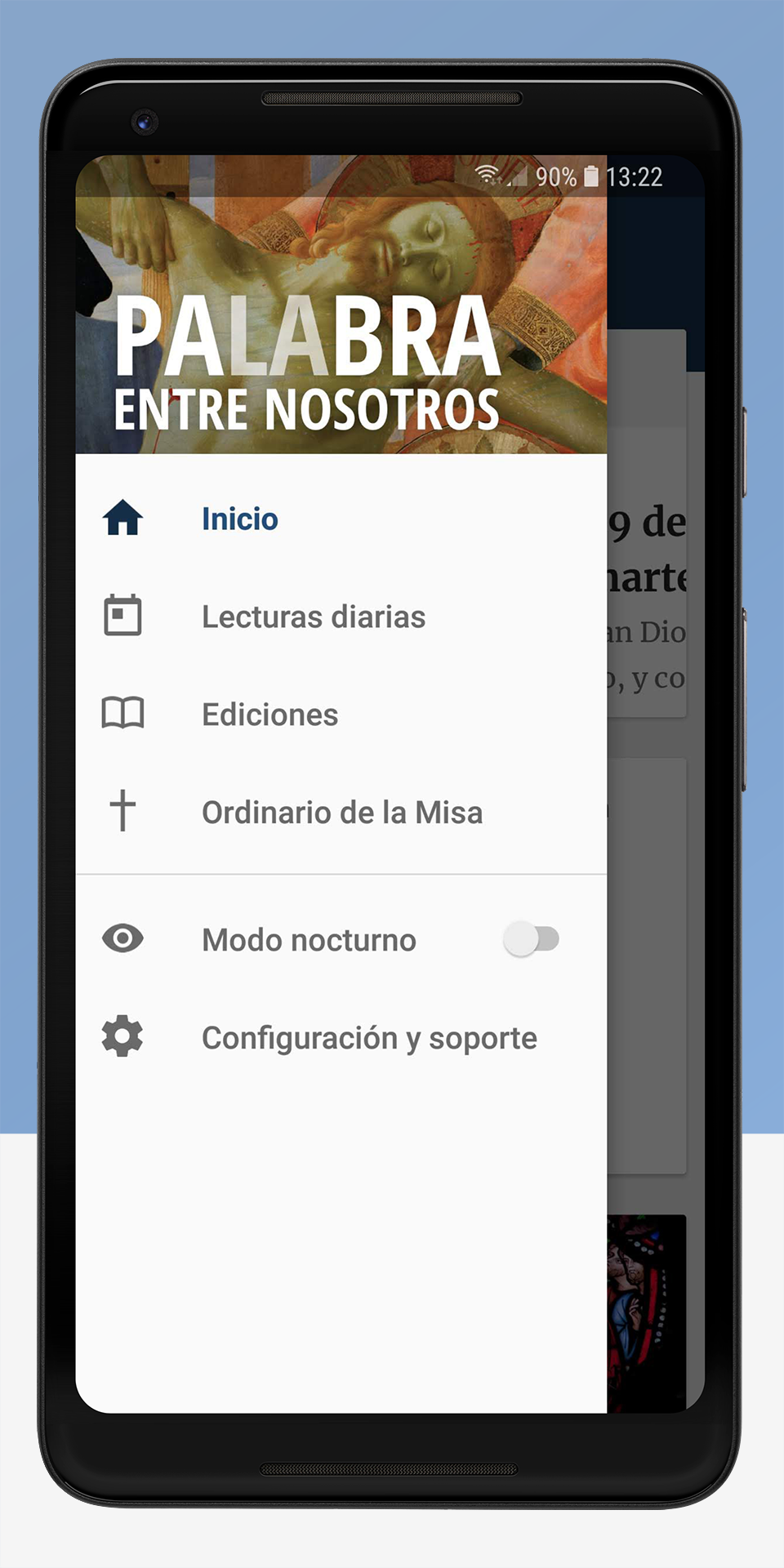 The Word Among Us Android App - Navigation Screen