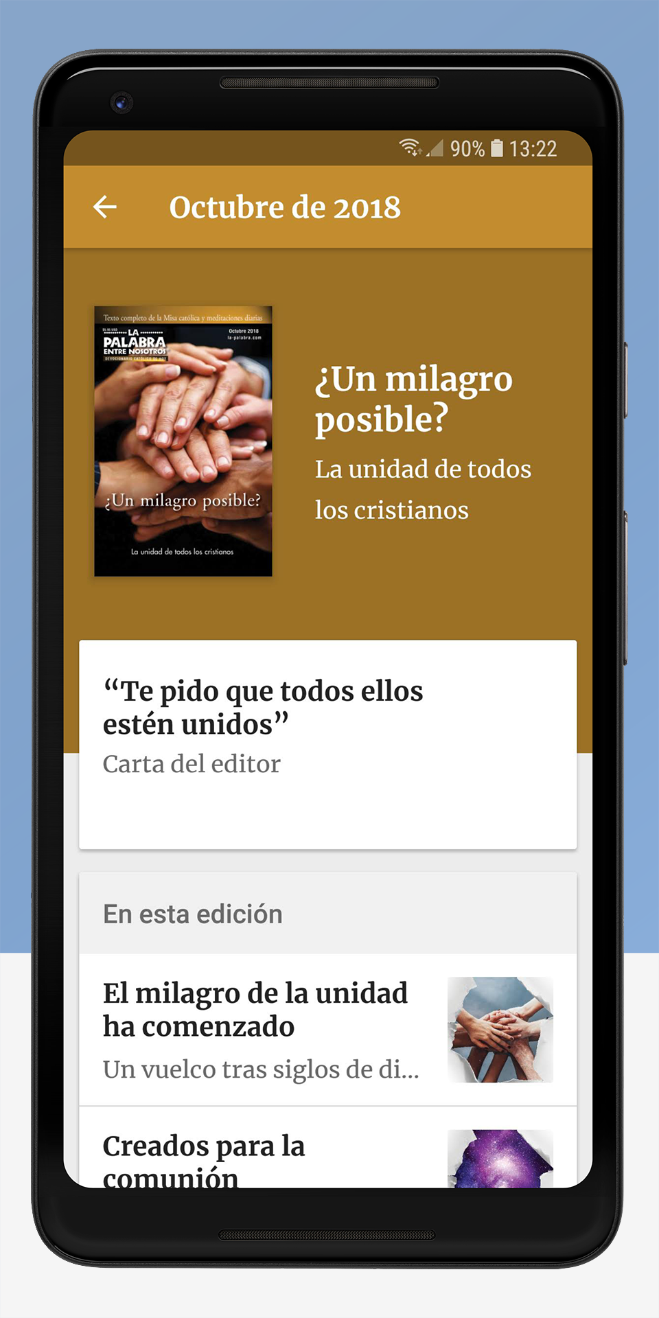 The Word Among Us Android App - Issue Screen