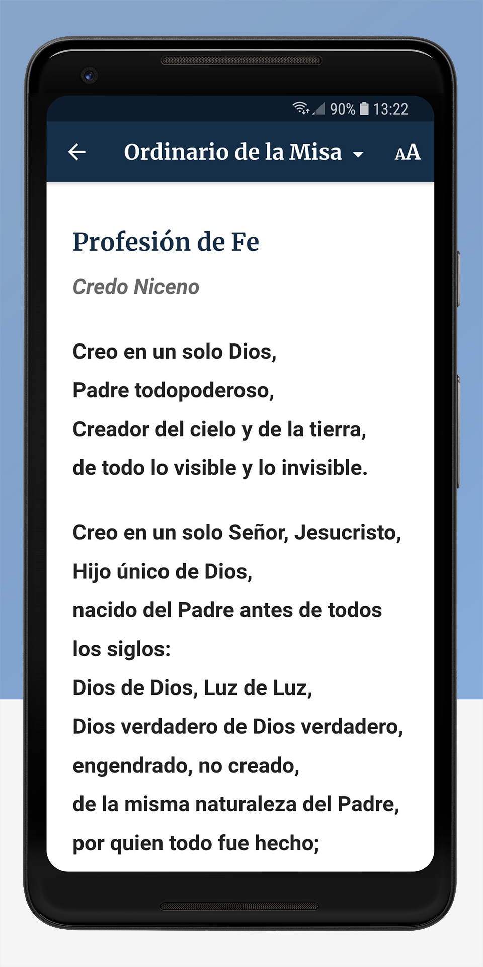 The Word Among Us Android App - Order of Mass Screen